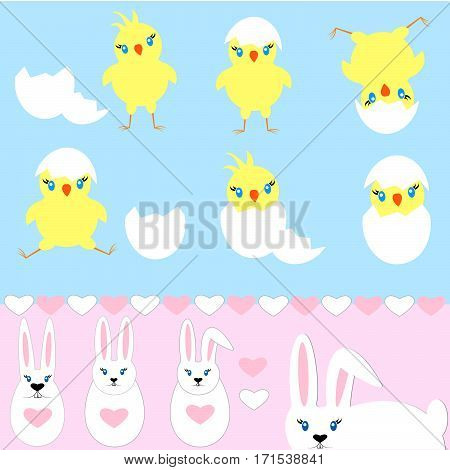 Set Of Easter Bunny, Chick Hatched