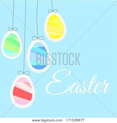 Easter Eggs Like Balloons On A Blue Background