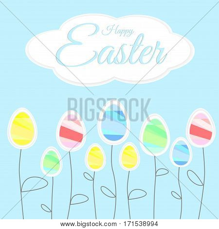 Easter Colored Eggs - Flowers, Happy Easter