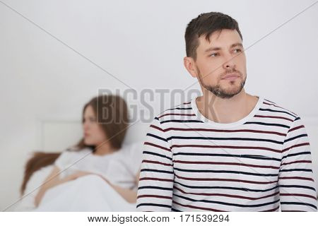 Depressed couple after quarrel