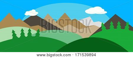 Panorama with hills, sky, sun. Outside landscape. Countryside. vector illustration.