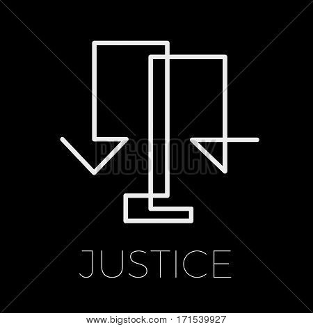 Vector sign lawyer and justice, on black