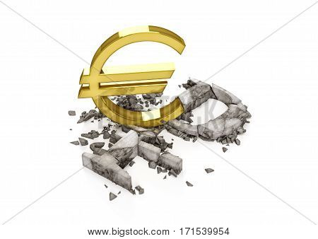 3D concrete Ruble symbol destroyed by gold Dollar sign. Exchange rate of Russian ruble is fall.