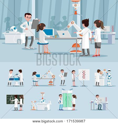 Artificial intelligence composition with scientists in laboratory working on innovations in genetic and robotic engineering vector illustration