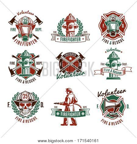 Colorful fire protection labels set with firefighter skull rescue tools and equipment in vintage style isolated vector illustration
