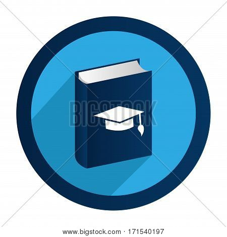 circular emblem with book with graduation hat vector illustration