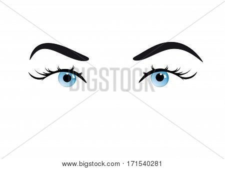 Vector Closeup eyes of girl, isolated on white