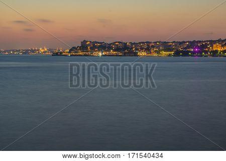 Night shot of part of Bosphorus Istanbul. Photo taken using long exposure. City light after the marmara sea.