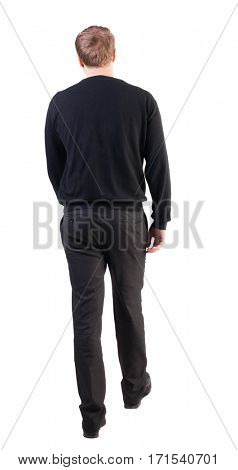 back view of walking  business man. going young guy in red shirt.  Isolated over white background. Rear view people collection.  backside view of person.  office worker in warm clothing goes ahead