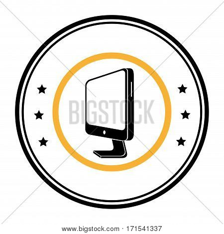 monochrome circular emblem with lcd monitor vector illustration