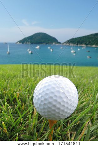 Golf ball on the sea and grass