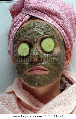 Spa Beauty concept,  Skincare Organic Facial Mask