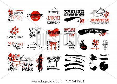 Japanese nature landscape and buildings. Red and black artistic logo set with sakura blossom, bamboo plant, brush strokes