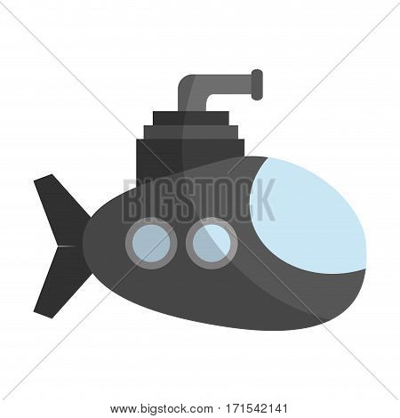 submarine vehicle icon over white over background. colorful design. vector illustration