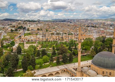 Photo of a Urfa taken from the city castle with Rizvaniye Mosque