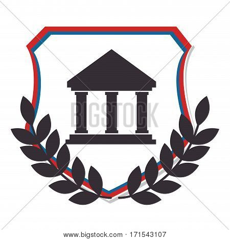 shield crown leaves and silhouette with greek temple parthenon vector illustration