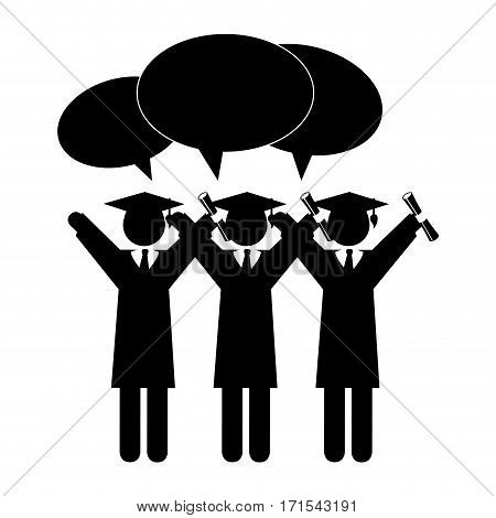 silhouette group people graduated with dialog callout vector illustration