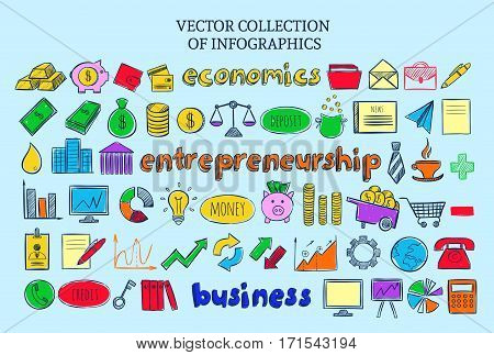 Colored infographic entrepreneurship icons collection of financial and economic elements in sketch style isolated vector illustration