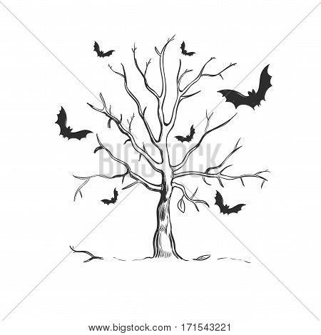 Halloween sketch concept with dead leafless dried tree and scary bats on white background isolated vector illustration