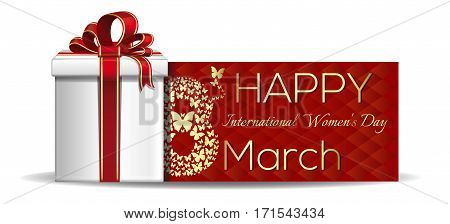 Happy International Women's Day. March 8. Gift box. Womens holiday. Vector Women's Day card. Number eight, consisting of golden butterflies flying on a red background. Vector banner, illustration