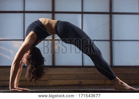 Young attractive woman practicing yoga, standing in Bridge exercise, Urdhva Dhanurasana pose, working out, wearing sportswear, black tank top, pants, indoor full length, studio evening practice
