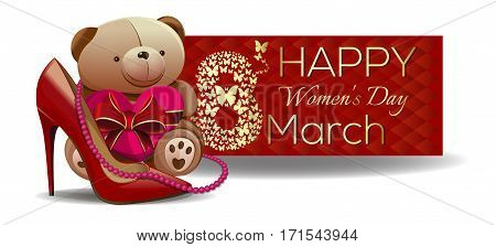 Red banner for International Women's Day. Cute Teddy bear wit pink heart. March 8. Womens holiday. Cute greeting card for women and girls. Vector illustration