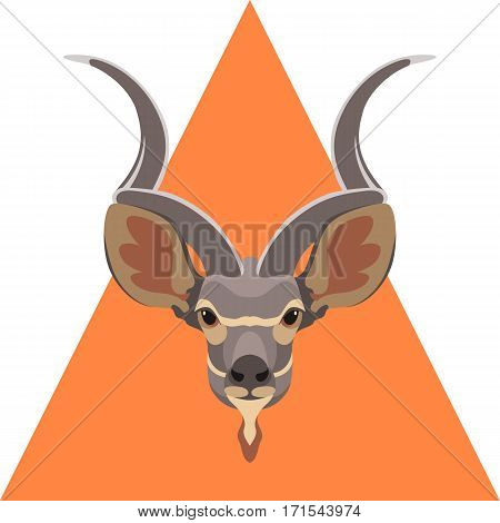 antelope head vector illustration style Flat front