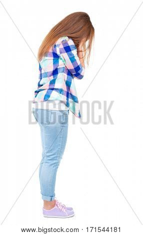 Back view of shocked woman in blue jeans jacket. girl hid his eyes behind his hands.  Rear view people collection.  backside view of person.  Isolated over white background.