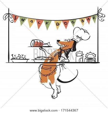 Dog snack bar. Vector illustration with cute doodle dog character in cap and apron advertises food for dogs.