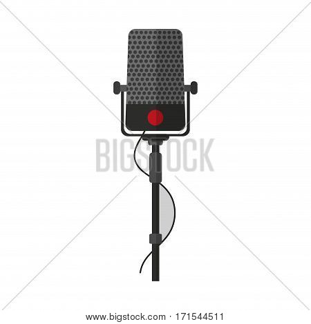 microphone device icon over white background. colorful design. vector illustration