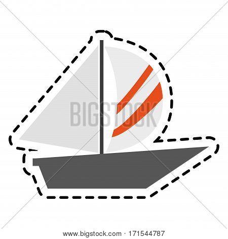 sailboat icon over white background. colorful design. vector illustration