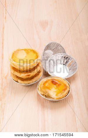 dessert egg tart sweet custard pie on wooden table background