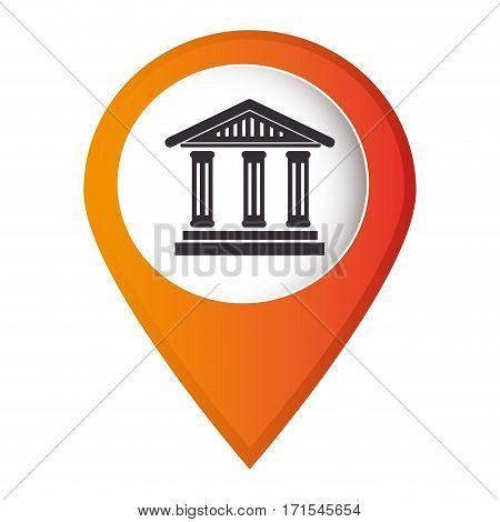 mark pointer with silhouette greek temple parthenon vector illustration