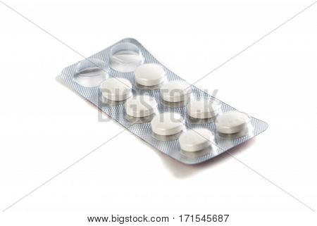 Blister Pack Of Pills Isolated On White Background,