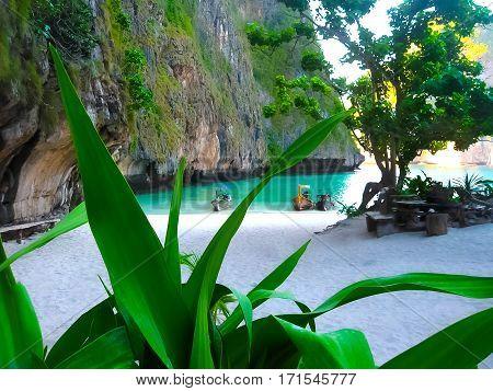 Maya Bay, Phi Phi Island, Thailand. Blurred in postproduction