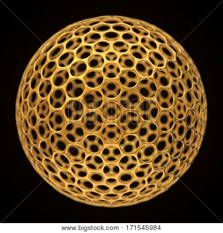 conceptual 3d illustration of spherical graphene structure. golden version.