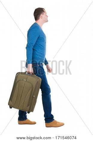 back view of walking  man  with suitcase.  brunette guy in motion. backside view of person.  Rear view people collection. Isolated over white background.
