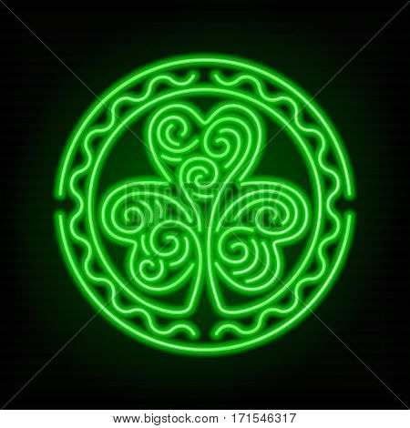Glowing neon sign - Stylized image of a shamrock on a dark green background.