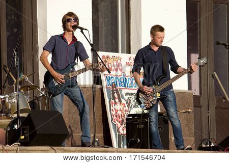 MARGANETS, UKRAINE - JUNE 26: Young unknown rock band giving concert in Marganets on National Youth Day June 26 2016