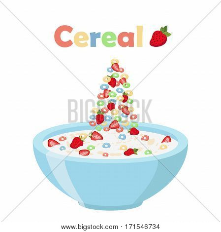 Cereal rings, strawberry with bowl. Oatmeal breakfast with milk, organic muesli. Flat vector style.