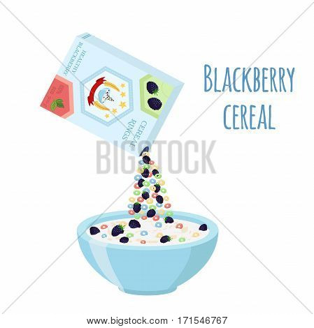 Cereal rings box, blackberry with bowl. Oatmeal breakfast with milk, organic muesli. Flat vector style.