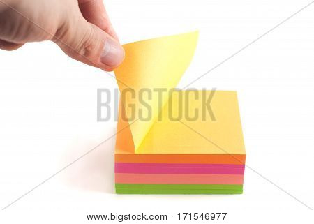 The Man Opens The Sticker For Reminders.