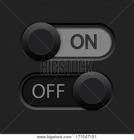 On and Off toggle switch. Dark black and gray buttons. Vector illustration