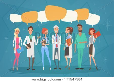 Group Medial Doctors Chat Bubble Social Network Communication Team Clinics Hospital Flat Vector Illustration