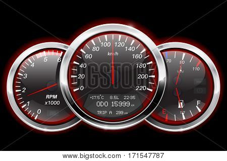 Speedometer, tachometer, fuel and temperature gauge. Black car dashboard with red backlight. Vector illustration