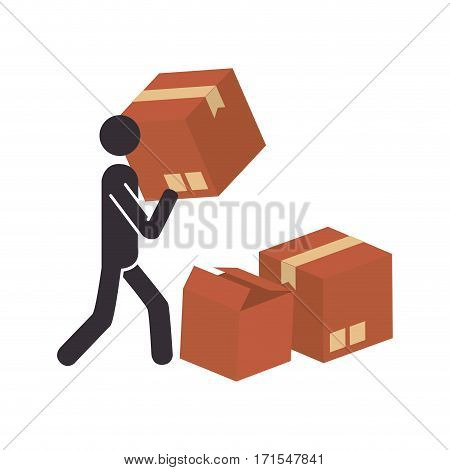 silhouette with package and pictogram person dispatcher vector illustration