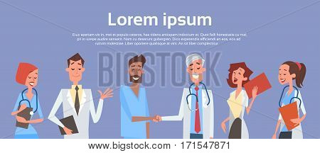 Group Medial Doctors Hand Shake Team Clinics Hospital Flat Vector Illustration