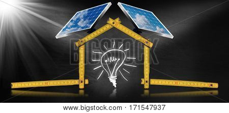 3D illustration of a yellow wooden ruler in the shape of ecologic house with two solar panels, sunbeams and a light bulb. Concept of ecological house project