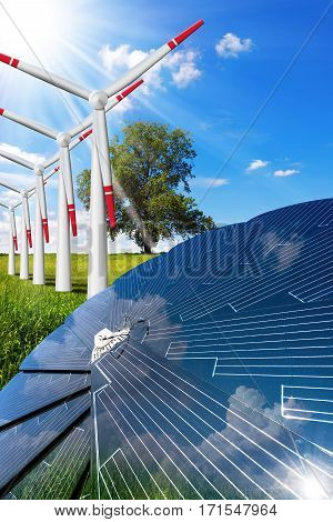 3D illustration of a Solar panel and a row of wind turbines in countryside with blue sky, clouds and sun rays - Green energy conceptenergy concept