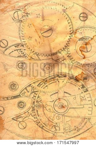 Clockwork mechanism - abstract drawing on grunge paper